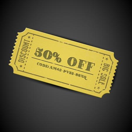 buono sconto: Old Yellow vettoriale vintage in vendita coupon di carta con il codice su sfondo scuro