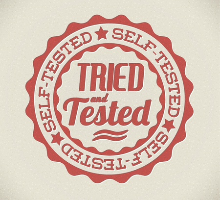 accepted label: Vector retro self tried and tested red detailed stamp