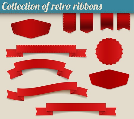 Set of red  retro ribbons, labels, stickers, tabs and tags Vector
