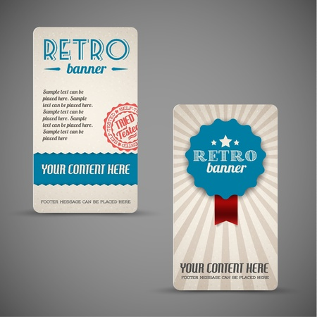 Old retro vintage grunge cards  - blue version Vector