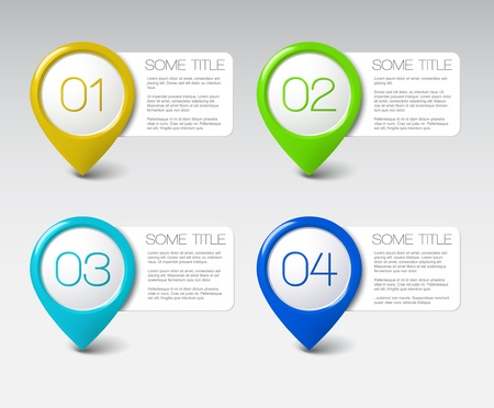 three pointer: One two three four - vector progress icons for four steps