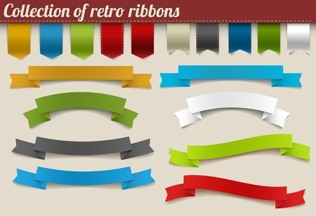 Set of colorful vector retro ribbons and tags Illustration