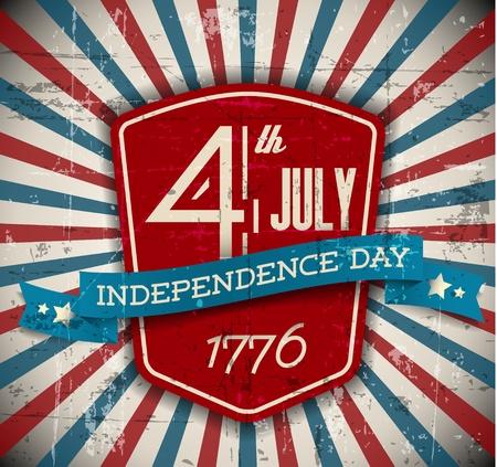 independencia: La independencia Vector insignia d�a  cartel - versi�n vintage, retro