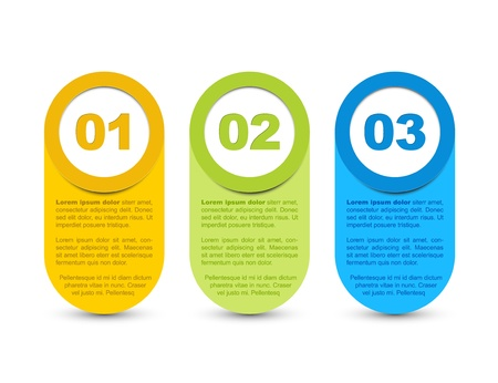 progress steps: One two three - vector progress icons for three  steps