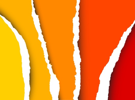 Vector Tear paper - abstract background (yellow, orange, red) Vector