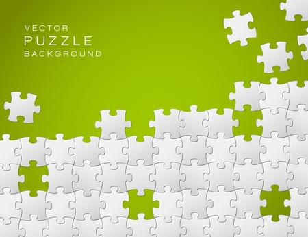 jigsaws: Vector Abstract sfondo verde fatto da pezzi di un puzzle bianchi e il luogo per il contenuto Vettoriali