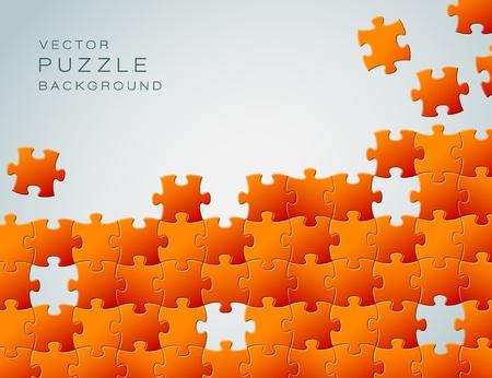 unfinished: Resumen de vectores de fondo a partir de piezas de un rompecabezas de color naranja y el lugar de su contenido