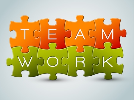 teamwork together: Vector puzzle teamwork illustration - orange and green