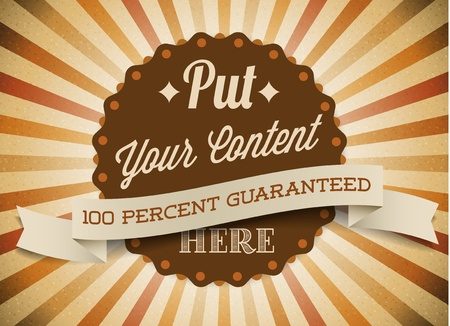 guaranty: Old brown vector round retro vintage label on sunrays background Illustration