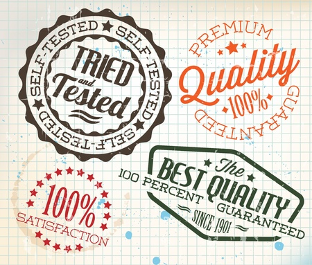 Vector retro teal vintage stamps for quality on old squared paper Vector