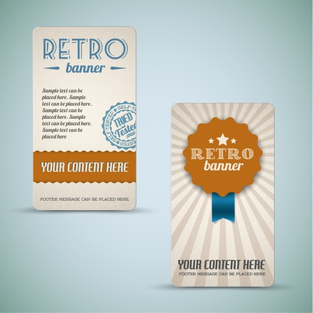 scrunch: Old vector retro vintage grunge cards  - brown version Illustration