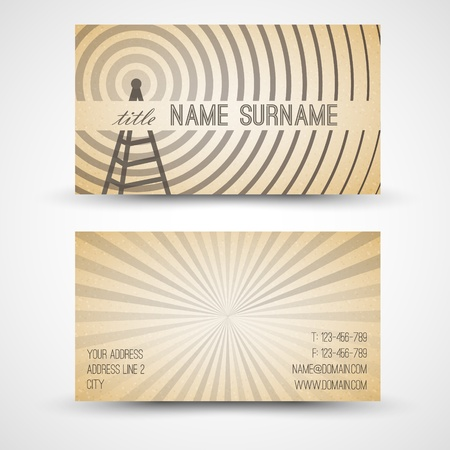 retro radio: Vector old-style retro vintage business card - both front and back side