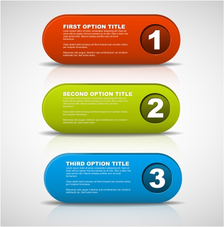 simple background: One two three - 3D vector progress icons for three  steps and their description