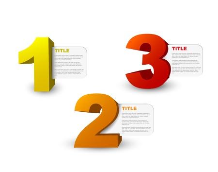 Een twee drie - 3D vector vooruitgang iconen voor drie stappen en hun beschrijving