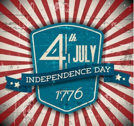 banderas americanas: La independencia Vector insignia d�a  cartel - versi�n vintage, retro