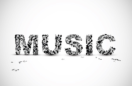 Vector music lettering made from various black notes Vector