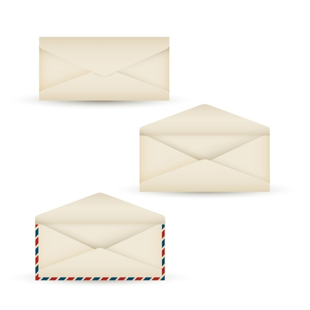 Vector open vintage air mail long envelope icon Vector