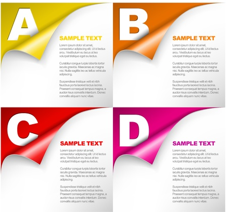 compare: Vector Paper Progress background  product choice or versions with letters