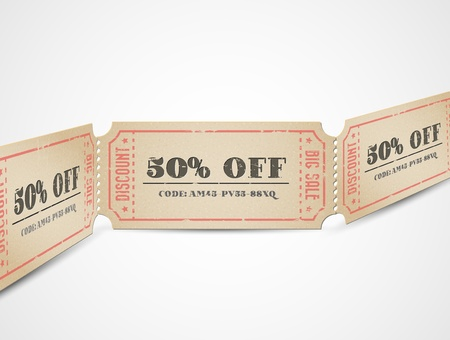 Old Vector vintage paper sale coupons with codes Stock Vector - 13422145