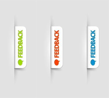 feedback: Vector white and color feedback Labels  Tags on the (web) page Illustration