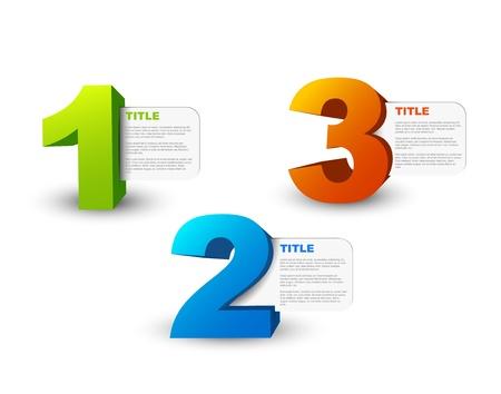 numero uno: Uno, dos, tres - los iconos en 3D de progreso para los tres pasos y su descripción