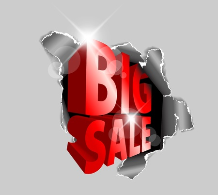 big idea: Big sale discount advertisement - Hole with sale text