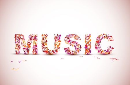 heading: music lettering background made from various black notes Illustration