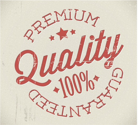 quality assurance: retro premium quality red detailed stamp Illustration