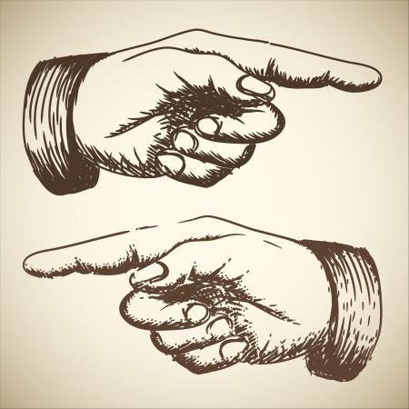 dedo se�alando: retro vintage mano que se�ala el dibujo Vectores