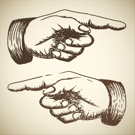 pointing at: Vintage retro disegno di mano di puntamento