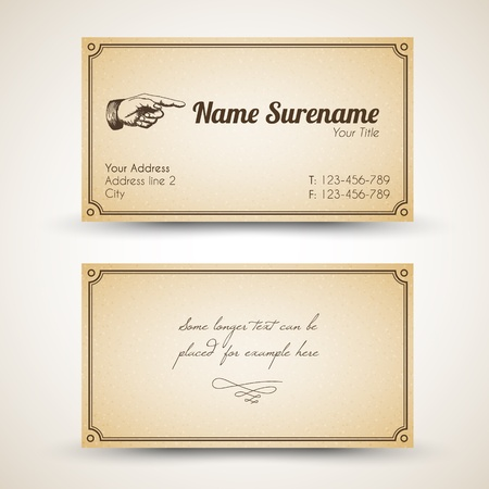 business card template: old-style retro vintage business card - both front and back side Illustration