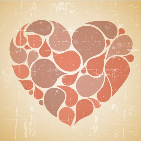Vector red abstract retro heart with place for your text Vector