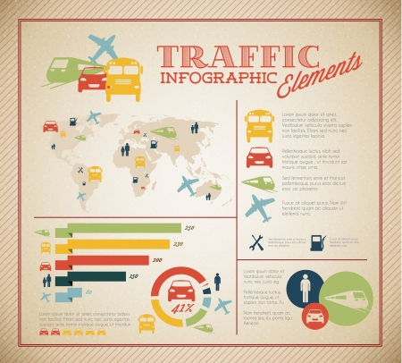 old bus: Big Vector set of Traffic Infographic elements for your documents and reports