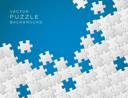 business symbols and metaphors: Vector Abstract blue background made from white puzzle pieces and place for your content Illustration
