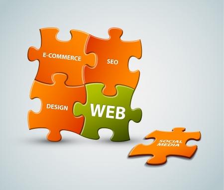 resoudre probleme: Casse-t�te Vecteur solution web illustration - orange et vert