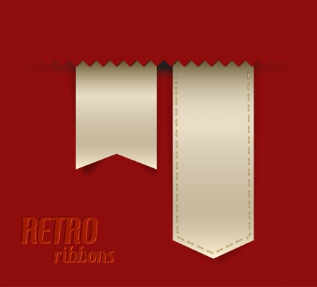 bookmark ribbon: Set of vector retro ribbons, labels, stickers, tabs and tags Illustration