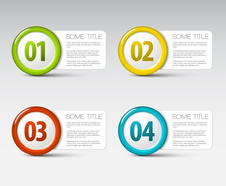 One two three four - progress icons for four steps Vector