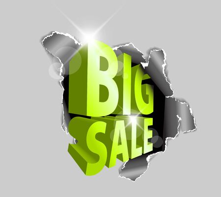Big sale discount advertisement - Hole with sale text Stock Vector - 13722966