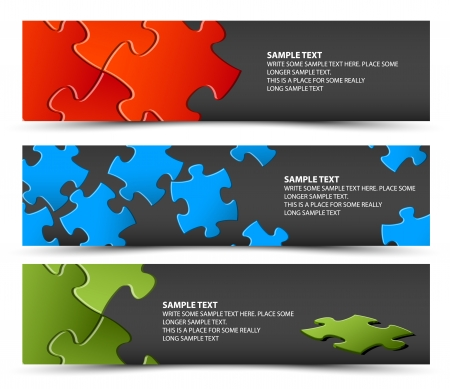 solve problems: Set of dark puzzle horizontal banners - jigsaw or solution Illustration