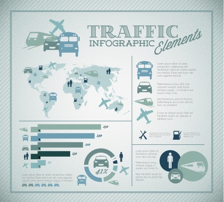 Big illustration set of Traffic Infographic elements for your documents and reports Vector