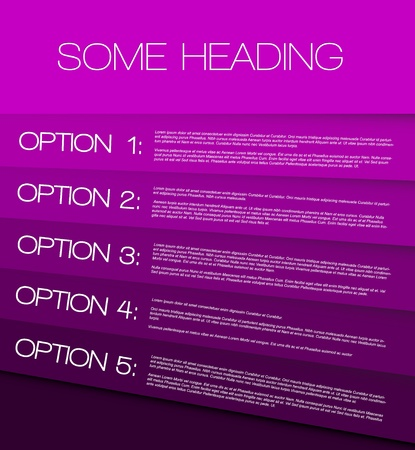 Purple Paper options background  product choice or versions Vector