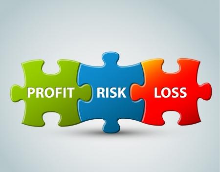 piezas de puzzle: Modelo de negocio Ilustración - beneficio, riesgo y las pérdidas