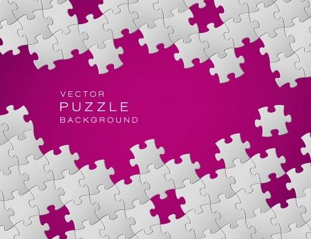 Abstract paarse achtergrond gemaakt van witte puzzelstukjes en plaats voor uw inhoud