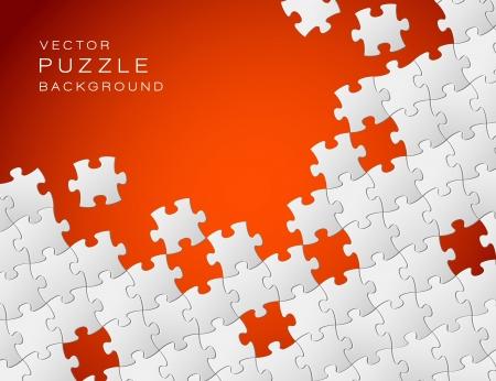 piezas de puzzle: Resumen de antecedentes roja hecha de piezas de un rompecabezas blancos y el lugar de su contenido