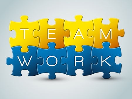 solving: Puzzle teamwork illustration - yellow and blue