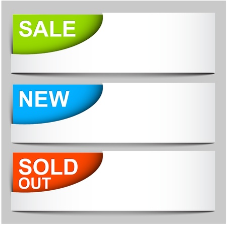 sale, sold, new - Corner icons illustration for your web Vector