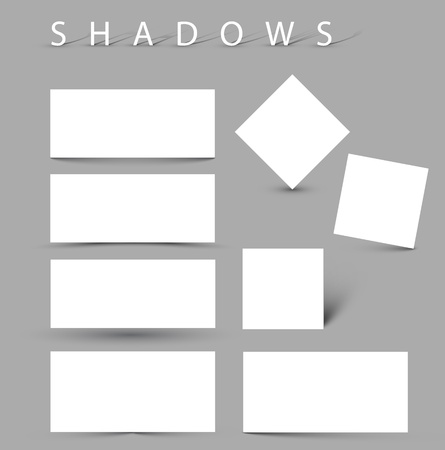 Set of illustration shadow effects - white cards with realistic shadows Vector