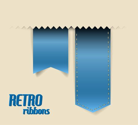 Set of retro ribbons, labels, stickers, tabs and tags illustration Vector