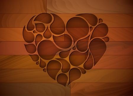 grecas: Fondo de madera precioso del corazón