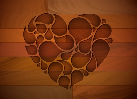 Wooden lovely heart background Vector